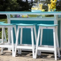 Island with Saddle Bar Stools