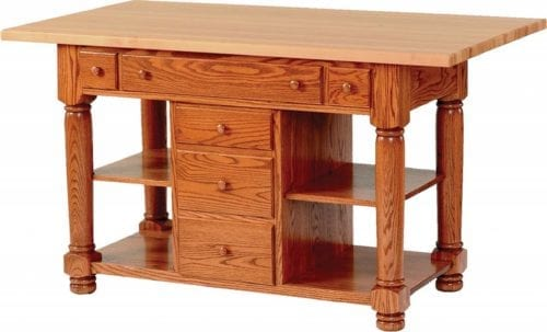 new-15400-IL06 Turned Leg Island with Double Shelves