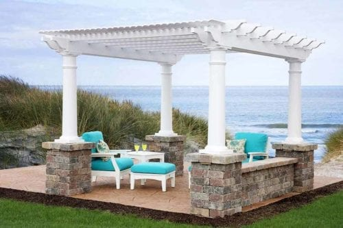 12×12-Urbana-Pergola-with-deluxe-shade-and-round-posts