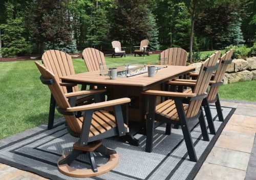 44-x-72-Garden-Classic-Fire-Table-and-Comfo-Back-Chairs—Anitque-Mahogany-on-Black