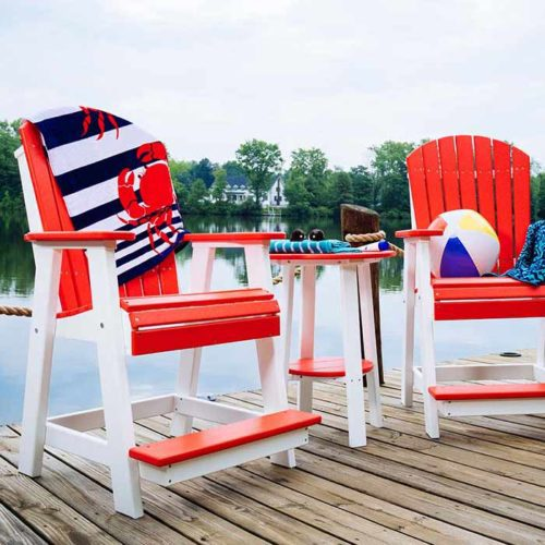 Poly-Adirondack-Balcony-Chairs-(Red-&-White)